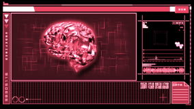 Digital interface featuring revolving pink brain stock video