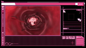 Digital interface showing bloodflow. Medical digital interface showing bloodflow through veins in pink and black stock video footage