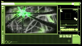 Digital interface showing neuron moving through nervous system stock video