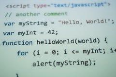 Digital java kodtext Begrepp f?r datorprogramvarakod arkivfoto
