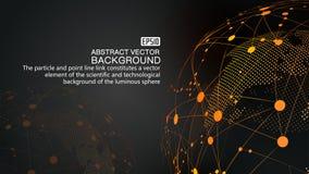 Digital jord och prucken linje för jordvetenskap och teknik för sammanlänkning glödande bakgrund, blåa beståndsdelar för teknolog vektor illustrationer