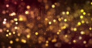Digital jul blänker guld- partikelbokeh för gnistor som flödar på guld- bakgrund, festligt lyckligt nytt år för feriexmas arkivfilmer