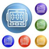 Digital-Küchentimer-Ikonensatzvektor stock abbildung