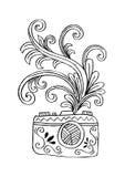 Digital kamera för foto med blom- design Arkivbild
