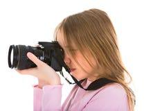 digital kamera henne fotograftonåring Arkivbild
