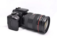 Digital kamera med linsen Arkivbild