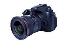 Digital kamera med zoomlense på vit bakgrund Arkivfoto