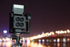Digital kamera nattsikten av staden Arkivfoton