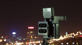 Digital kamera nattsikten av staden Fotografering för Bildbyråer