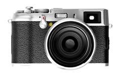 Digital kamera som isoleras på vit bakgrund DSLR Arkivbild