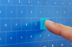 Digital keyboard on touch screen stock photography