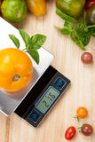 Digital Kitchen Scale. On table surrounded with fresh tomatoes, and basil Royalty Free Stock Photos