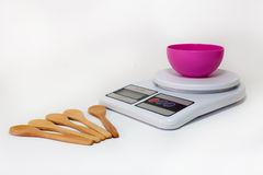 Digital kitchen scale with empty bowl Stock Images