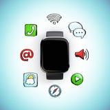 Digital klocka med sociala massmediasymboler Arkivbild
