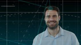 Digital komposit av en man i en cybervärld vektor illustrationer