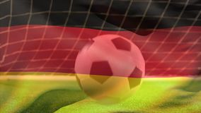 Digital komposit av fotboll som studsar på gräs royaltyfri illustrationer
