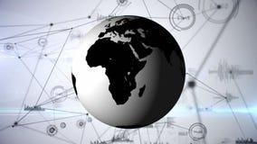 Digital komposit av världsjordklot- och blockchainnätverk vektor illustrationer