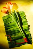 Digital konstmålning - som är färgrik på grönt tulipan Royaltyfri Bild