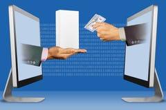 Digital-Konzept, Hände erscheinen von den Laptops Hand mit weißem kleinem Handykasten und Hand mit Bargeld Abbildung Lizenzfreies Stockfoto