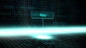 Digital kształtuje teren oprogramowanie definiującą typografię z futurystycznym binarnym kodem - rubin royalty ilustracja
