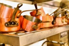 Digital-Kunst Malerei - alte kupferne Töpfe im Küchenrestaurant stockbilder