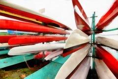Digital-Kunst Malerei - bunte Kanus geparkt lizenzfreie stockbilder