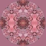 Digital-Kunstdesign mit rotem rosa und braunem mit Filigran geschmücktem Muster Lizenzfreie Stockbilder