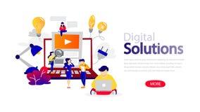 Digital lösningshorisontalplant baner för website royaltyfri illustrationer