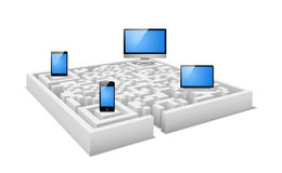 Digital labyrinth. Concept of electronic devices in digital labyrinth vector illustration Stock Image