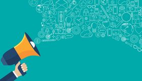 Digital lançant le concept sur le marché d'ensemble Illustration plate de vecteur illustration libre de droits