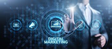 Digital lan?ant la publicit? sur le march? d'Internet et ventes augmentent le concept de technologie d'affaires photo libre de droits
