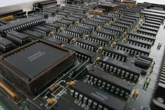 Digital Landscape. View of an obsolete mini-mainframe interface circuit board.  Manufacturers logos edited out Stock Image