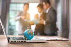 Digital Laptop Working Global Business Concept stock image