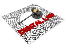 Digital law. Judicial gavel surrounded by concentric ones and zeros with red graphic text digital law Royalty Free Stock Photo