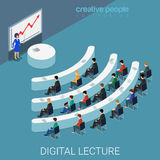 Digital lecture web conference wi-fi flat isometric vector 3d. Digital lecture web conference flat 3d isometry isometric education knowledge concept web vector Royalty Free Stock Photos