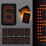 Digital LED Scoreboard Numbers. Grouped elements,  illustration Stock Photography