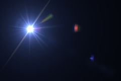 Digital lens flare. In black bacground horizontal frame Royalty Free Stock Photo