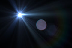 Digital lens flare. In black bacground horizontal frame Royalty Free Stock Photography