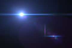 Digital lens flare. In black bacground horizontal frame Stock Photography