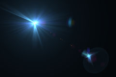 Digital lens flare. In black bacground horizontal frame Stock Image