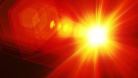 Digital lens flare in black background horizontal frame warm.Modern natural flare effect.Sun burst. In space video stock footage