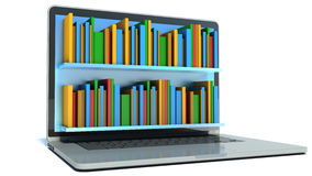 Digital library - books and computer Stock Image
