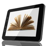 Digital Library - Open book on tablet computer screen stock photos