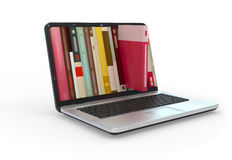 Digital library. Digital library e-books in laptop computer Stock Photo