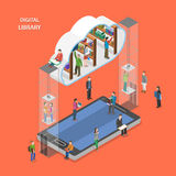Digital library flat isometric vector concept. Stock Photography