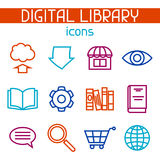 Digital library icon set. E-books, reading and downloading Stock Images