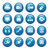 Digital life. 16 buttons of our digital lifestyle Stock Illustration