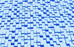 Modern three-dimensional cubes texture background, 3D rendering. Digital light blue background textured with three-dimensional cube shapes rendered in 3D Royalty Free Stock Image