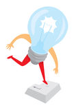 Digital light bulb idea jumping on enter or return key Royalty Free Stock Photo