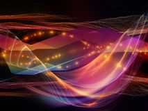 Digital Light Wave. Multicolored Oscillation. Optical Flow series. Background design of color lines and lights isolated on black background on the subject of royalty free illustration